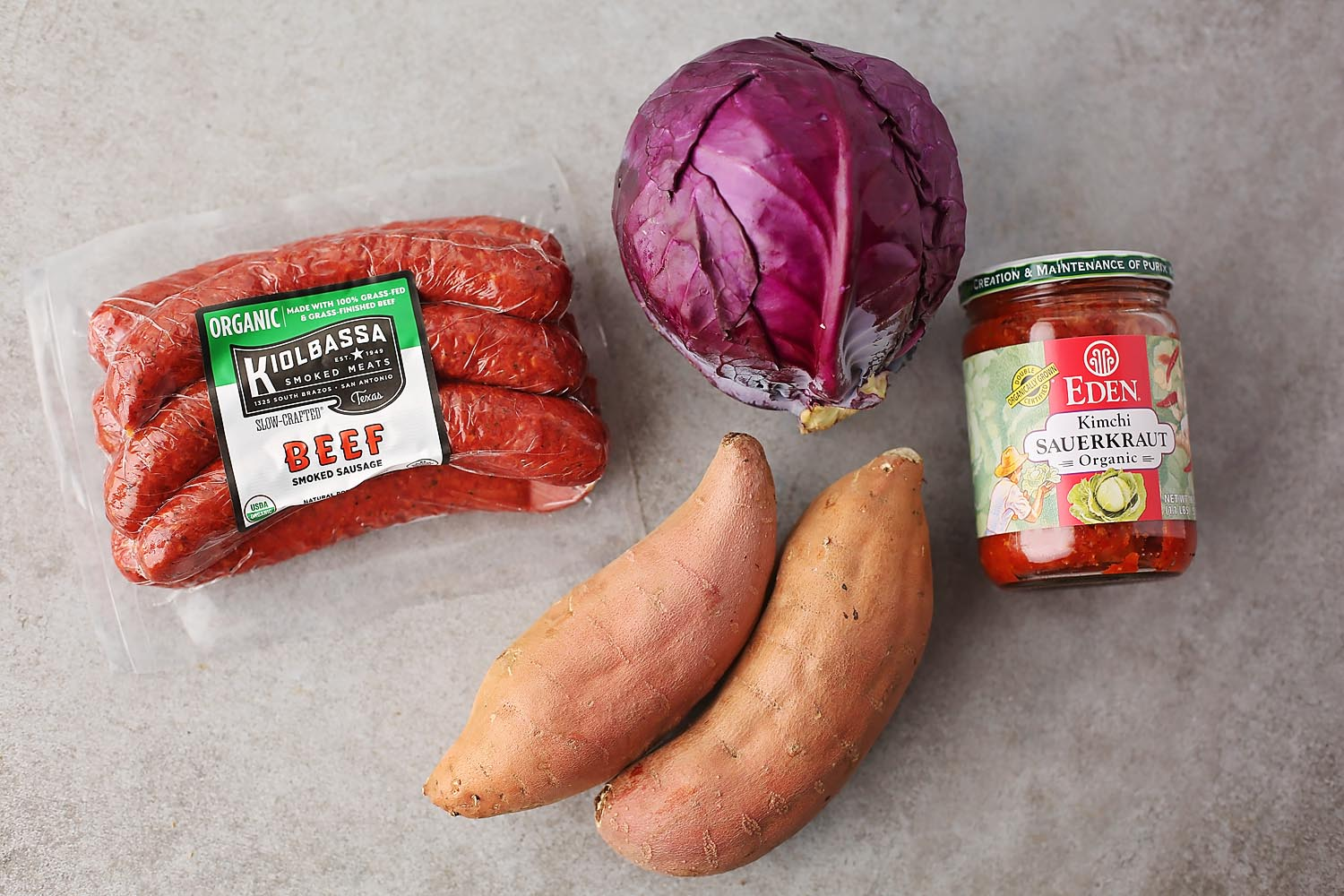 ingredients to make cabbage and sausage stew
