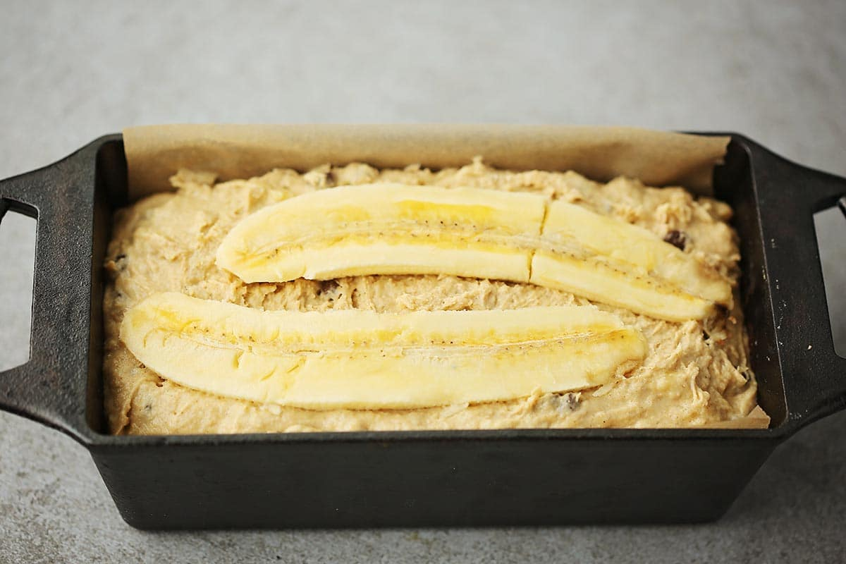 bread pan with unbaked banana bread