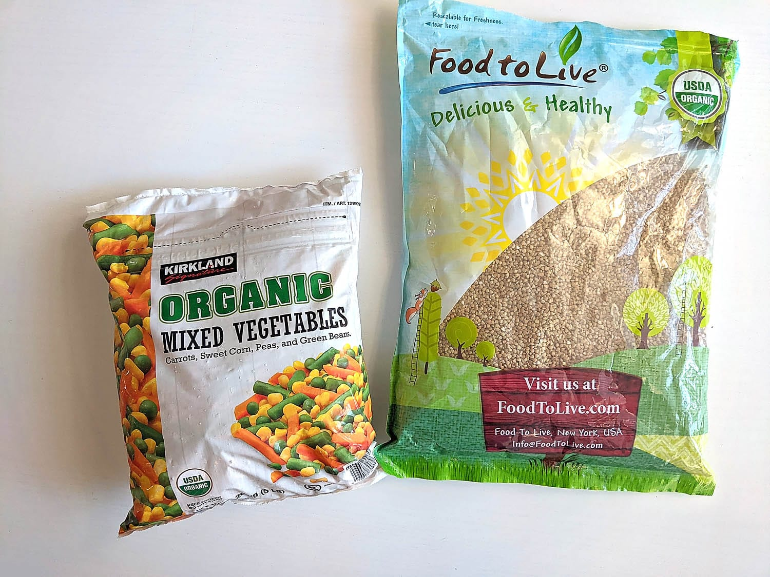 two packages: buckwheat and vegetables