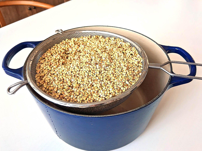rinsed buckwheat groats inside the stock pot