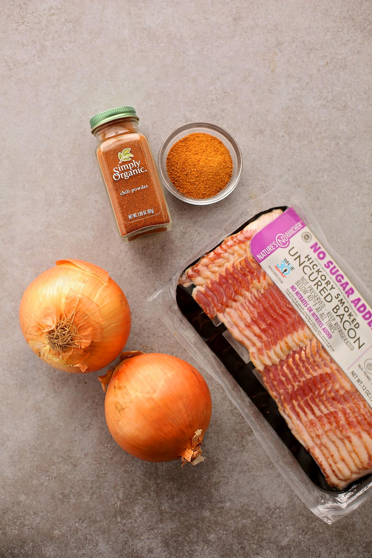 ingredients to make onion rings with bacon