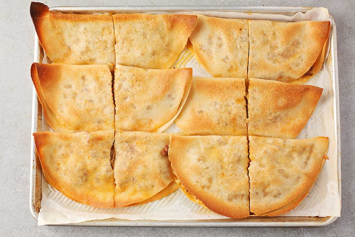sheet pan with baked quesadillas