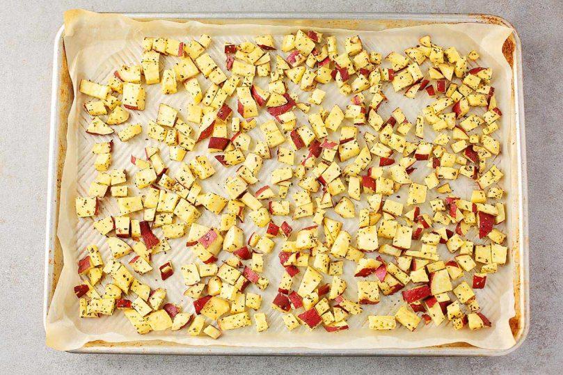 sheet pan with diced potatoes