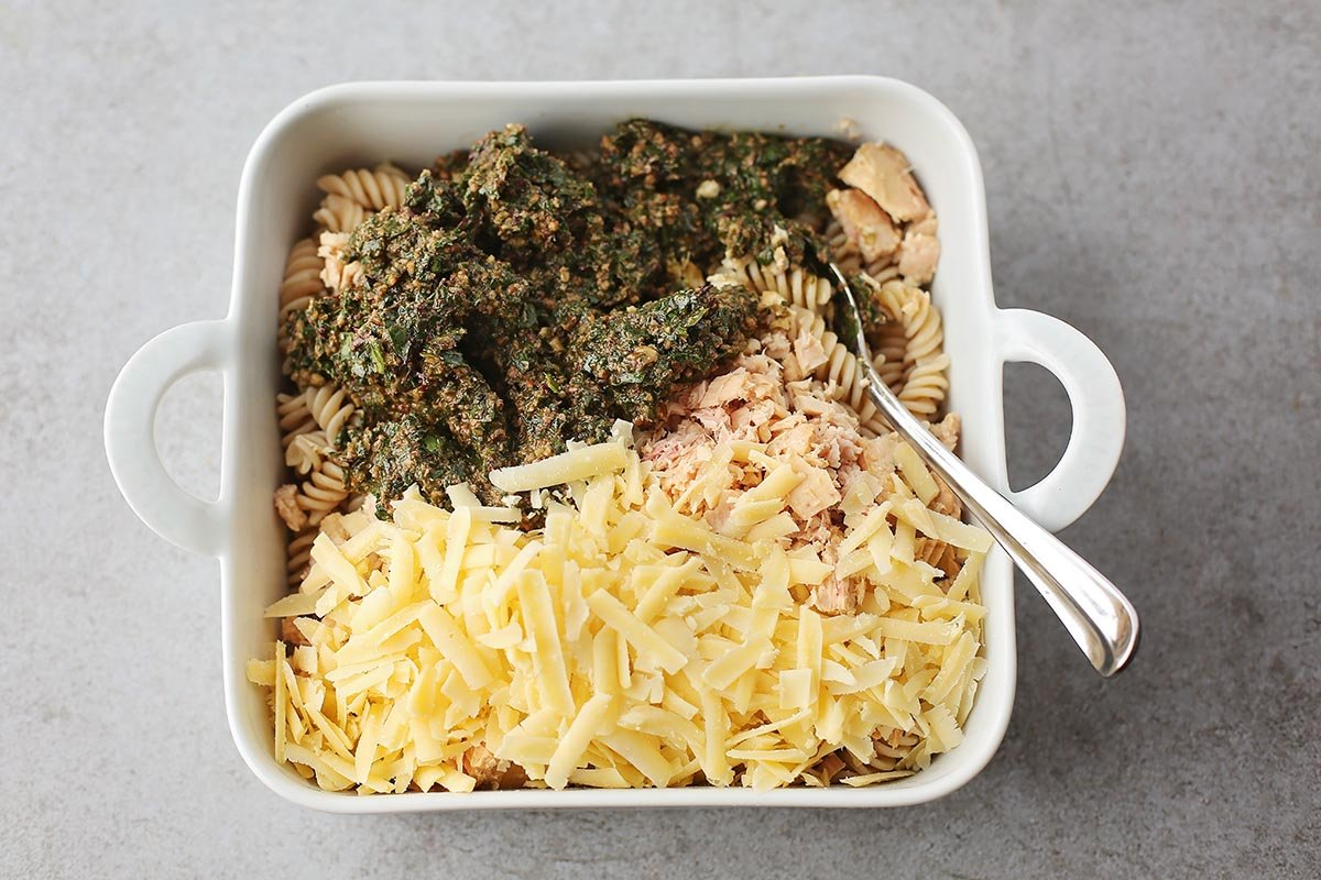 baking dish with ingredients to make casserole