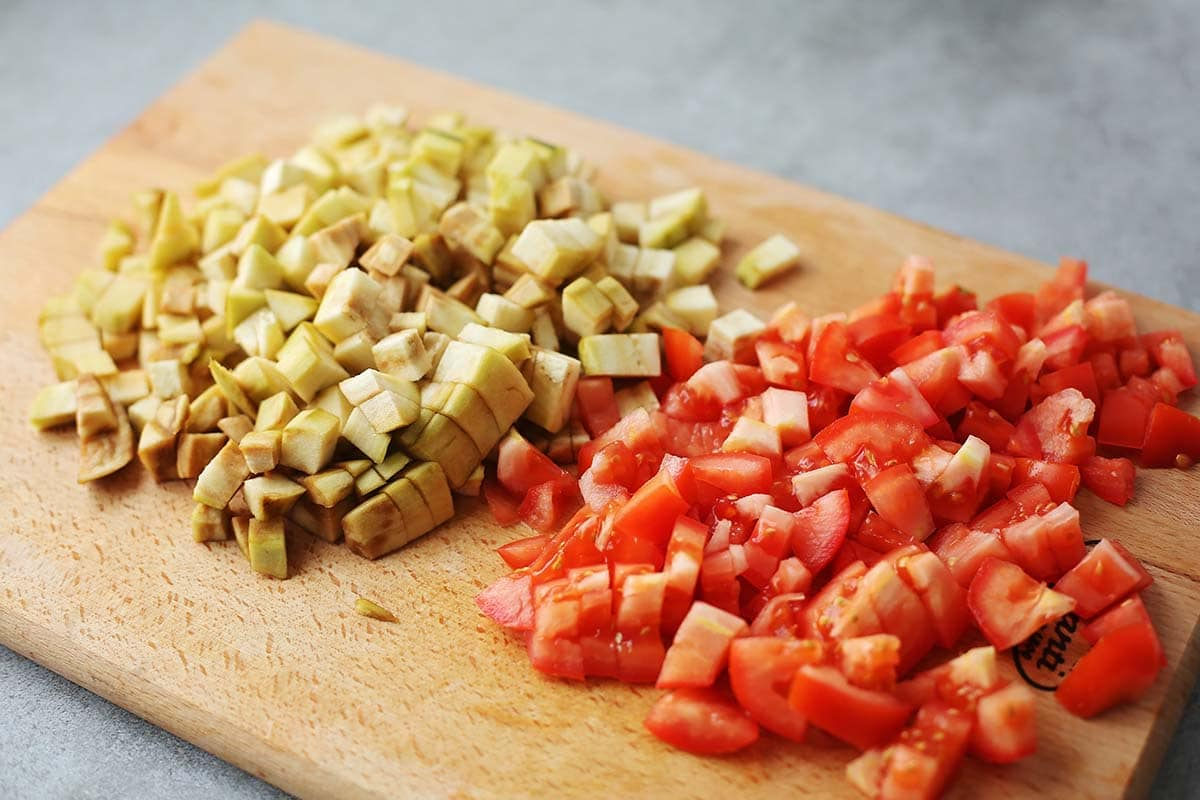 diced vegetables on cutting board