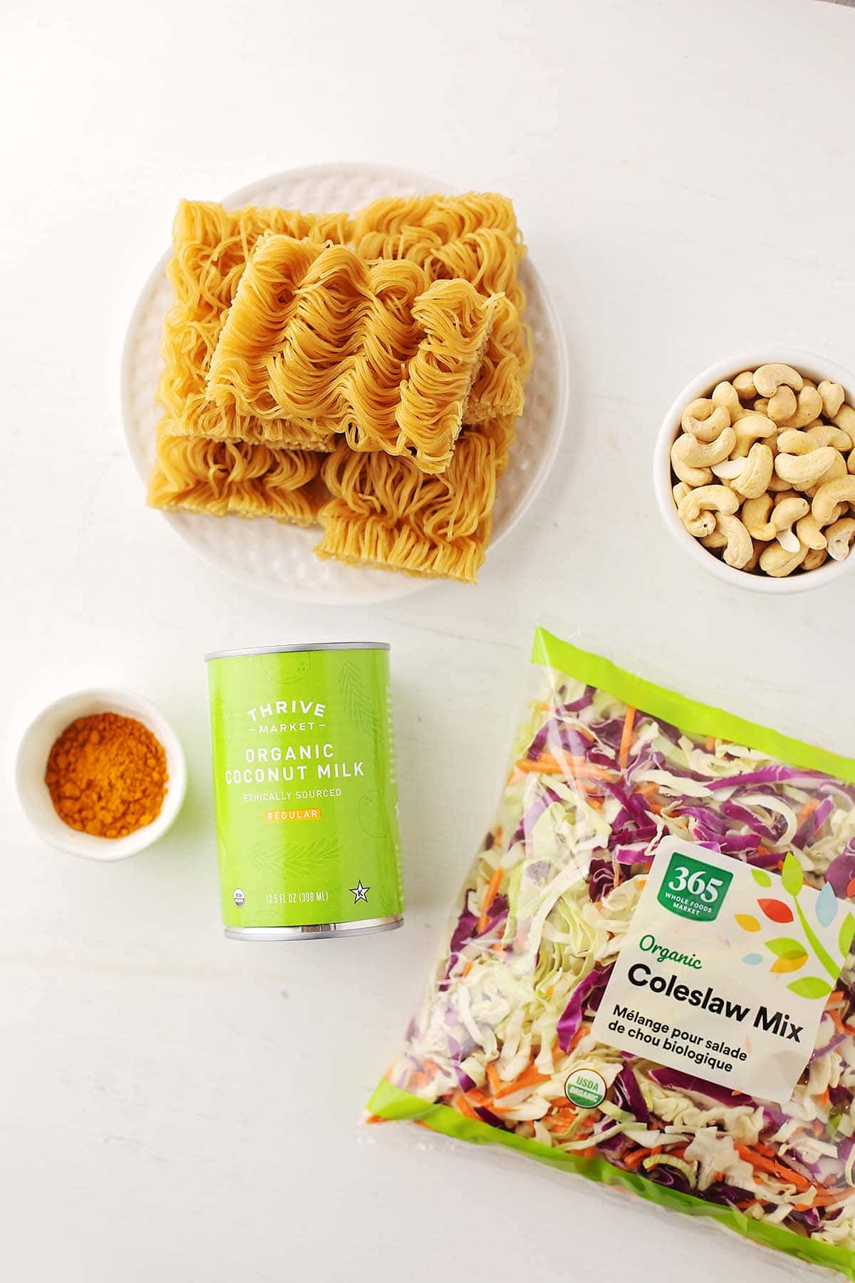 ingredients to make cabbage mix with noodles and curry spice