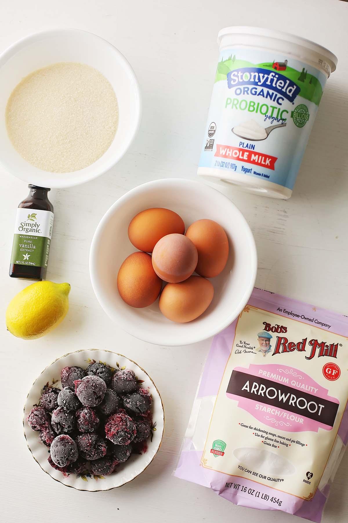 ingredients to make baked meringue cookie