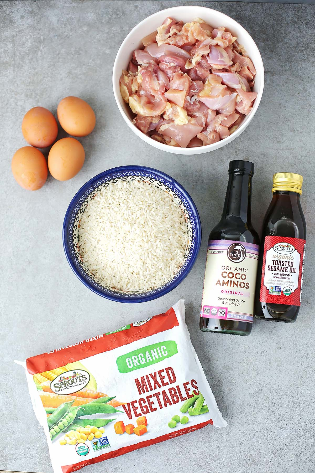 ingredients to make fried rice with chicken