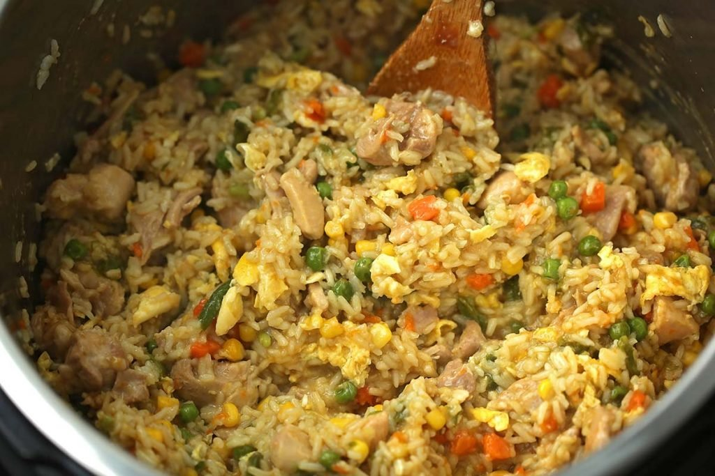 cooked fried rice inside instant pot