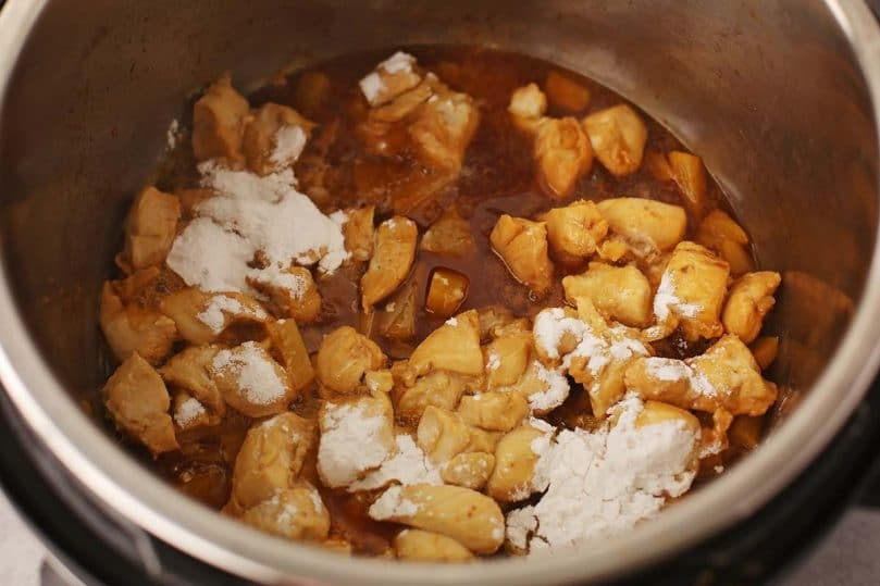 instant pot with chicken and arrowroot powder