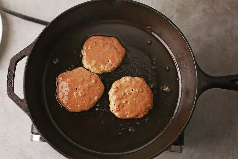 fried meat patties in the skillet