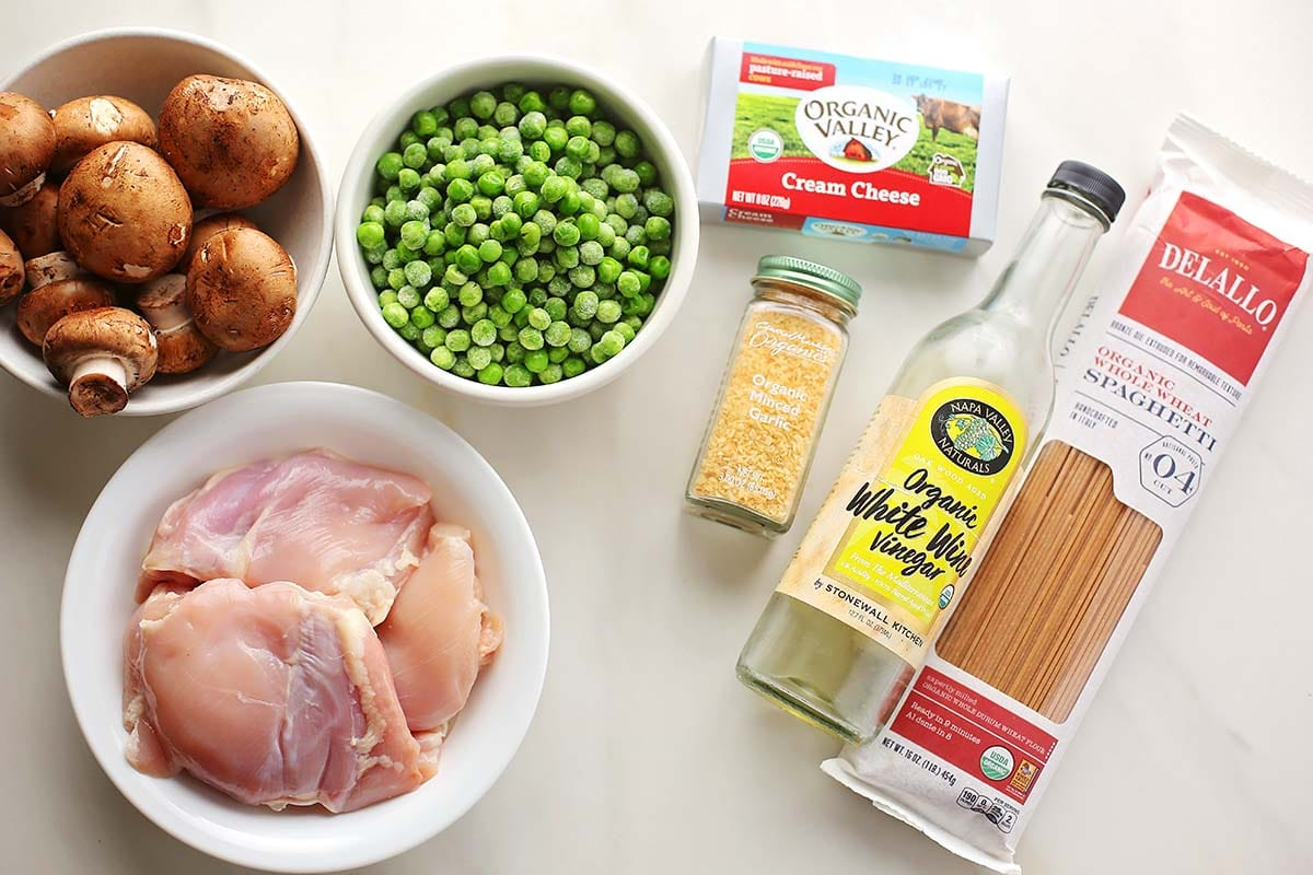 gathered ingredients top make spaghetti with chicken