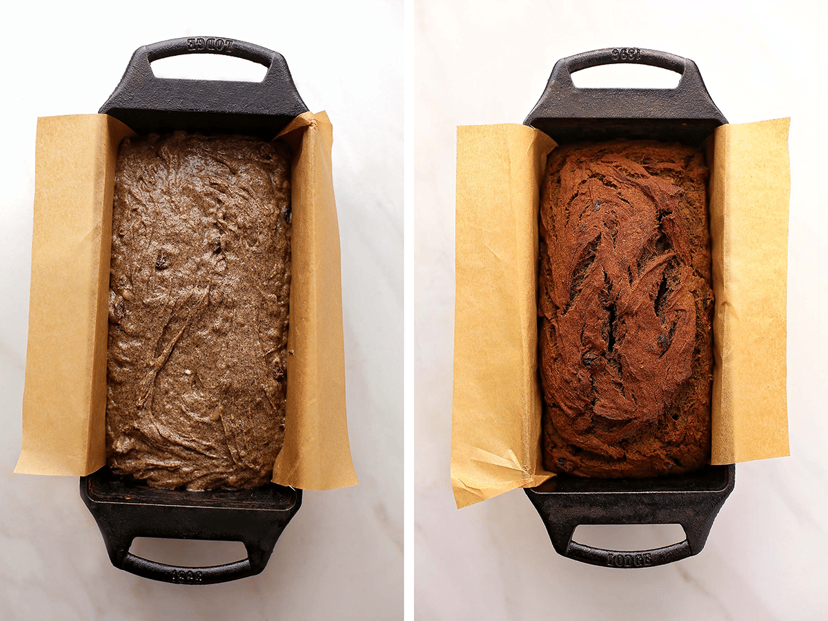 two bread loaf pans with unbaked and baked bread