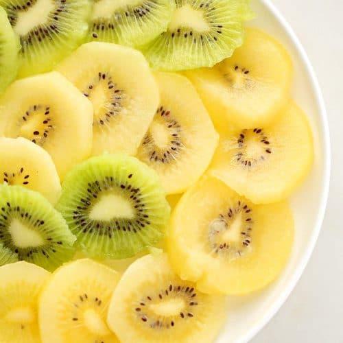white plate with sliced kiwi