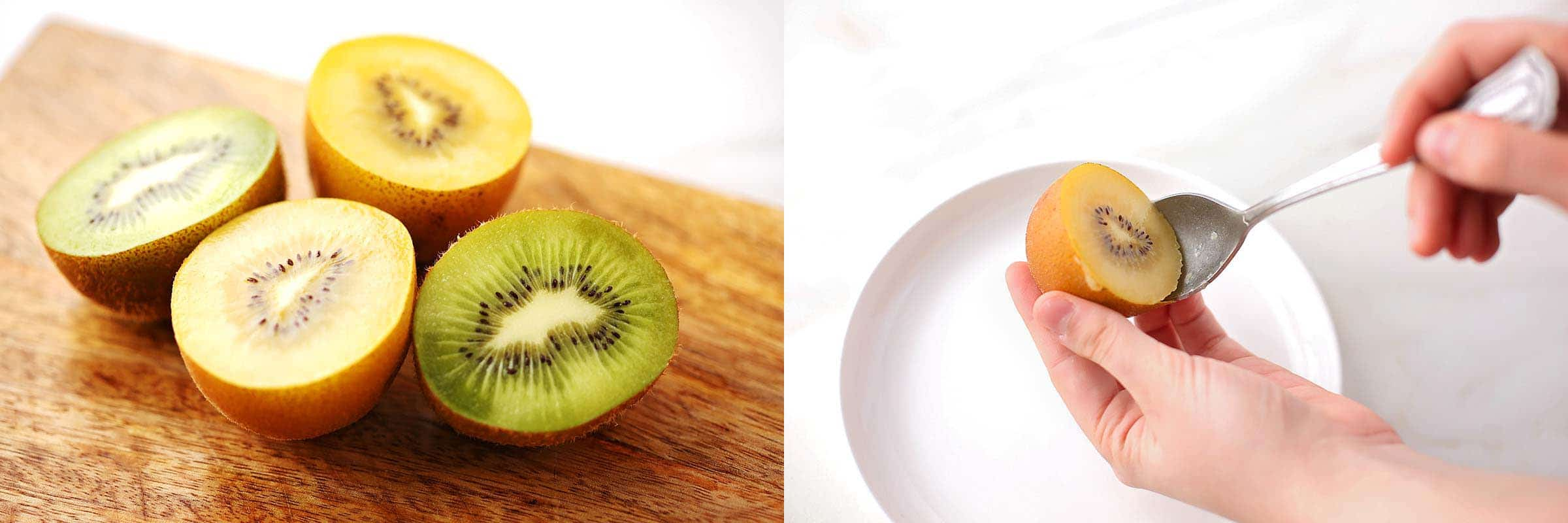 images how to cut kiwi using a poon method