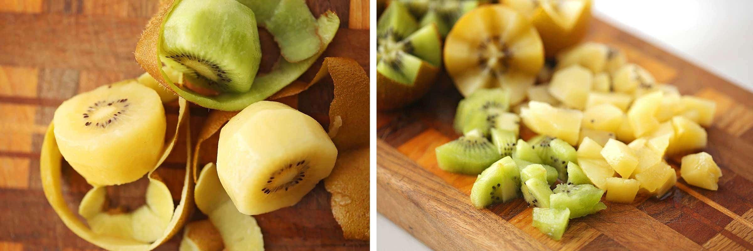 images of kiwi fruit peeled and diced