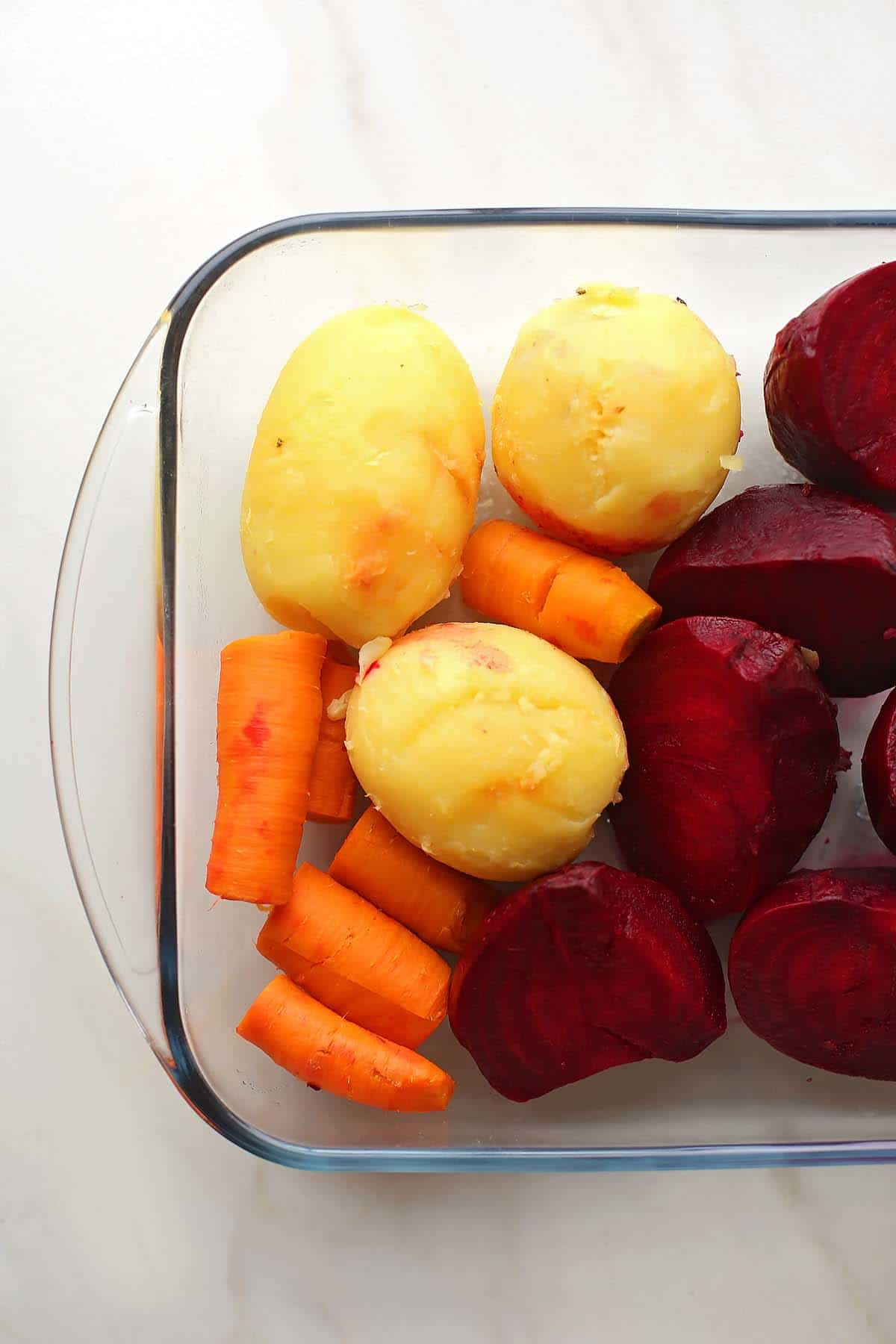 boiled vegetables for potato salad with beets