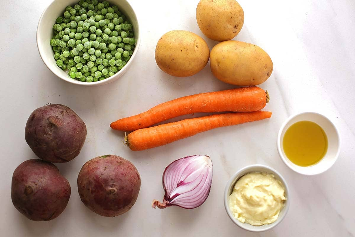 ingredients to make potato salad with beets