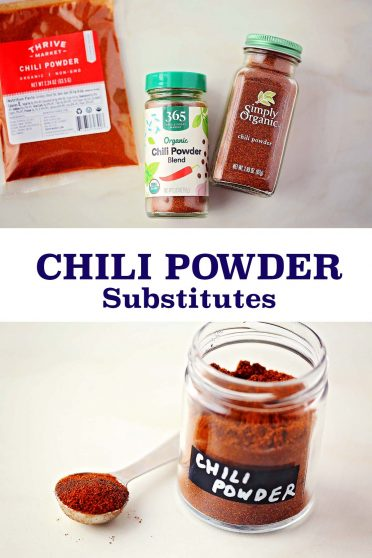 glass jar labeled Chili powder, spice bottles and plastic bag with red powder
