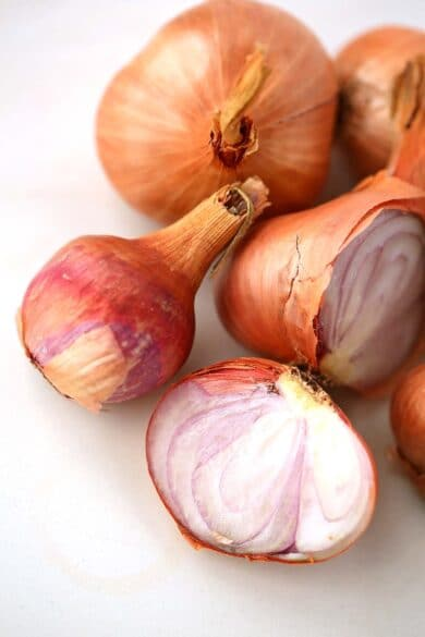 tabletop with several shallots