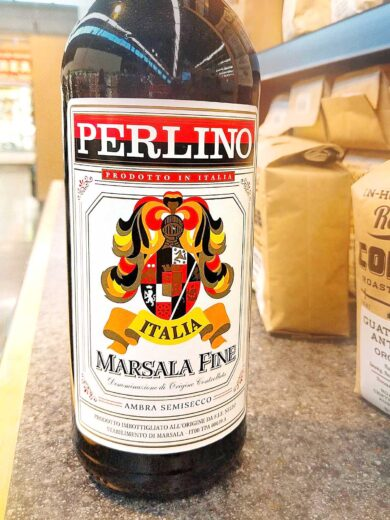 bottle of marsala wine on the counter